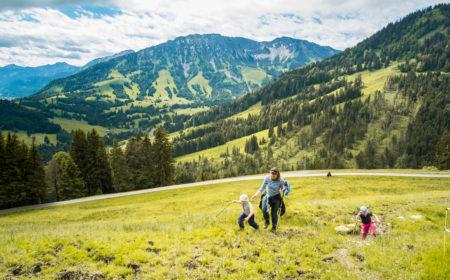 Wiese mit Familie rum um das Bergheim Unterjoch